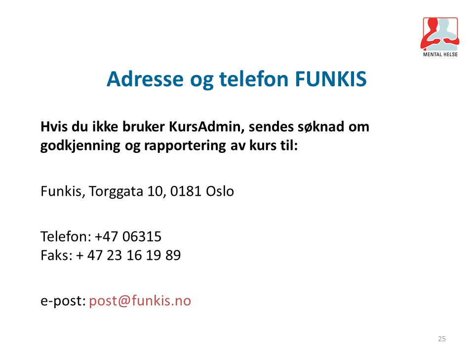 Adresse og telefon FUNKIS