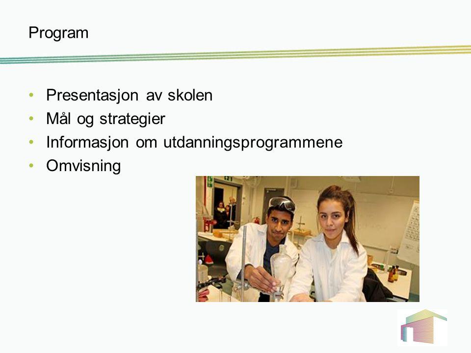 Program Presentasjon av skolen Mål og strategier Informasjon om utdanningsprogrammene Omvisning