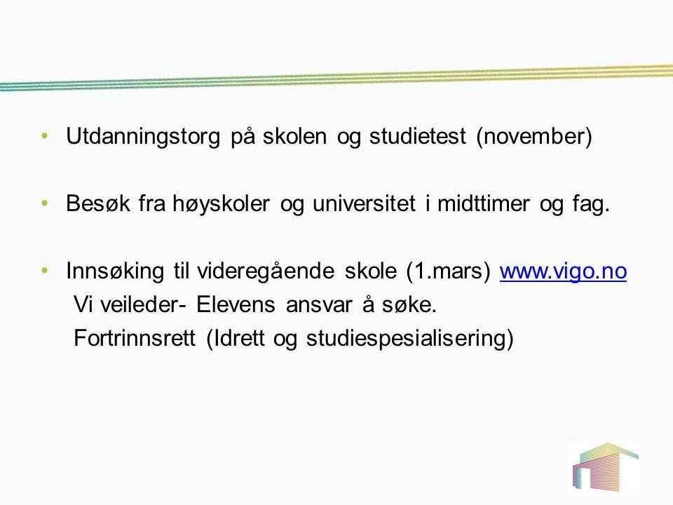 Utdanningstorg på skolen og studietest (november)