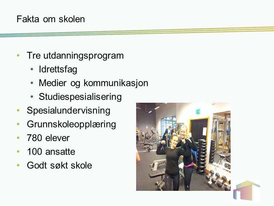 Fakta om skolen Tre utdanningsprogram. Idrettsfag. Medier og kommunikasjon. Studiespesialisering.