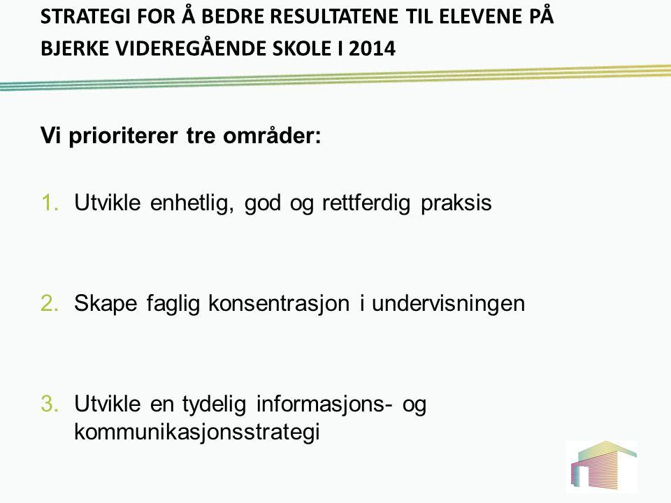STRATEGI FOR Å BEDRE RESULTATENE TIL ELEVENE PÅ BJERKE VIDEREGÅENDE SKOLE I 2014