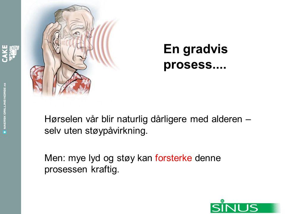 En gradvis prosess.... Hørselen vår blir naturlig dårligere med alderen – selv uten støypåvirkning.