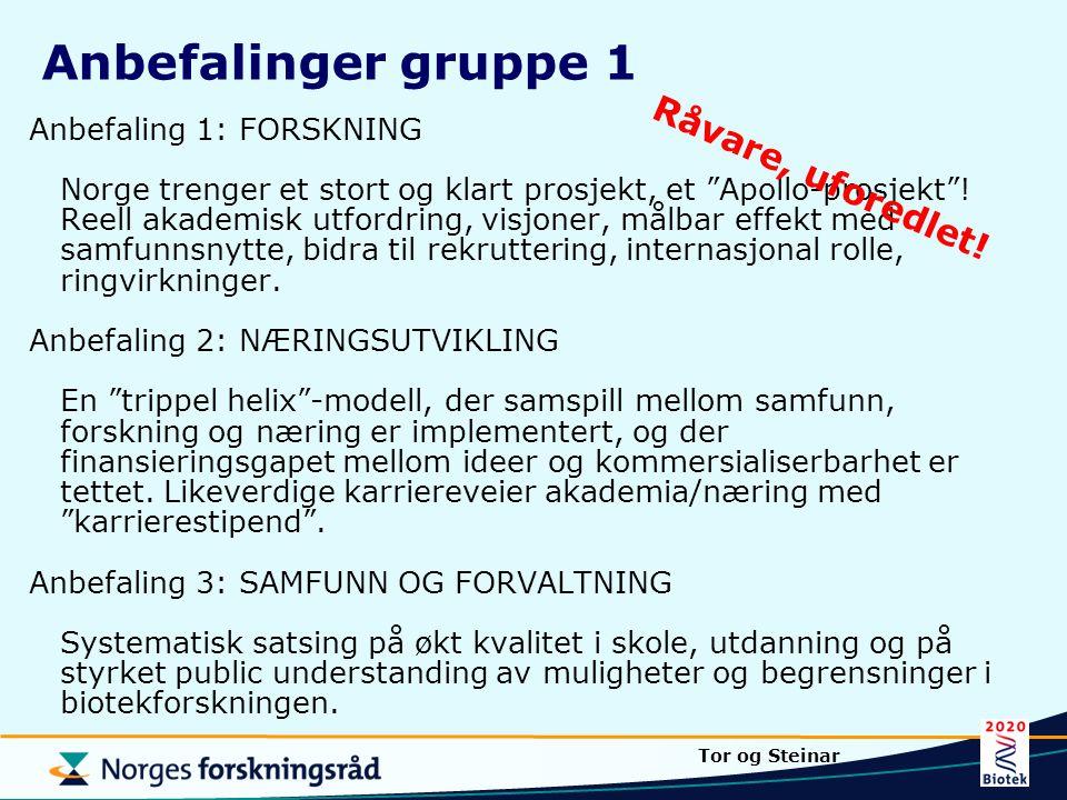 Anbefalinger gruppe 1 Råvare, uforedlet!