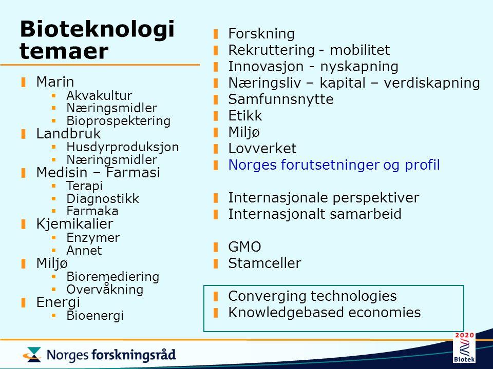 Bioteknologi temaer Forskning Rekruttering - mobilitet