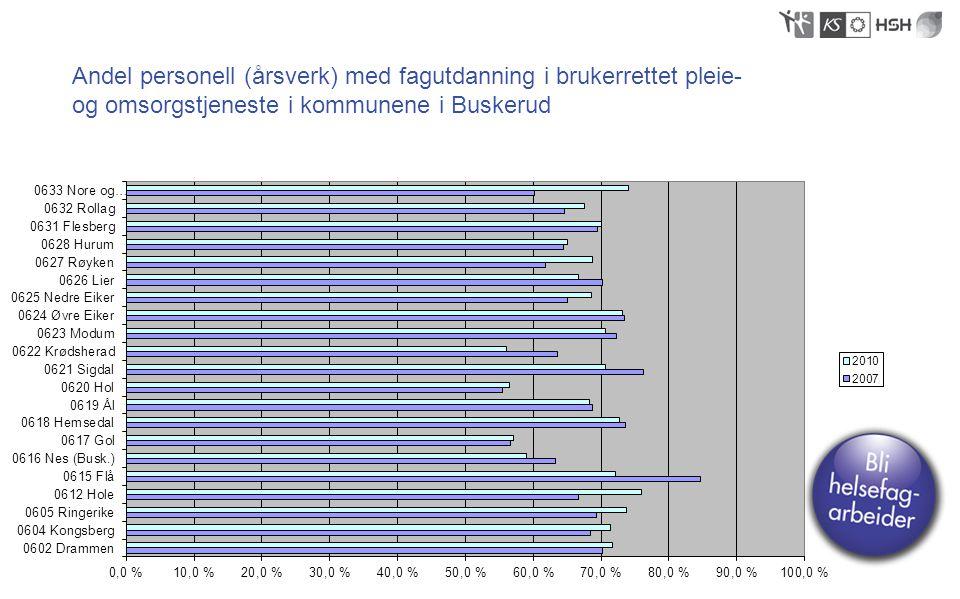 Andel personell (årsverk) med fagutdanning i brukerrettet pleie-og omsorgstjeneste i kommunene i Buskerud