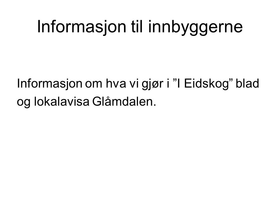 Informasjon til innbyggerne