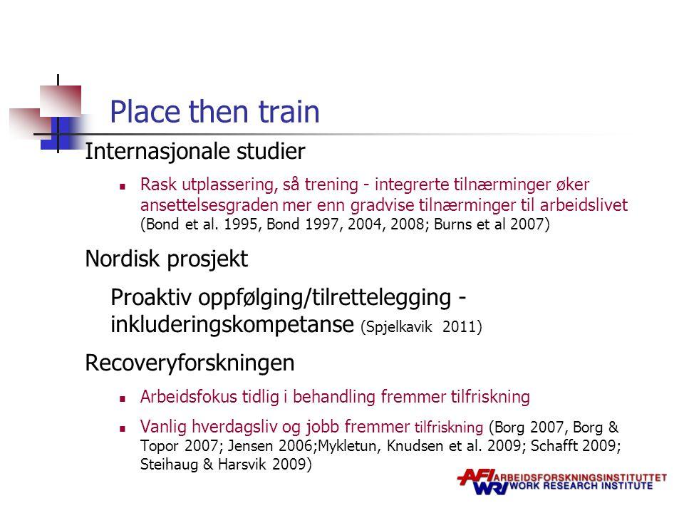 Place then train Internasjonale studier Nordisk prosjekt