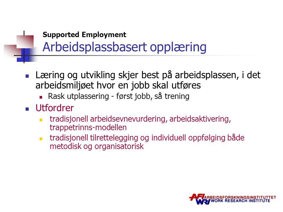 Supported Employment Arbeidsplassbasert opplæring