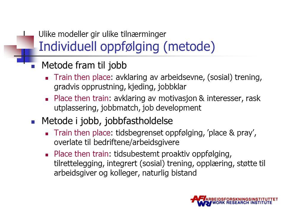 Ulike modeller gir ulike tilnærminger Individuell oppfølging (metode)