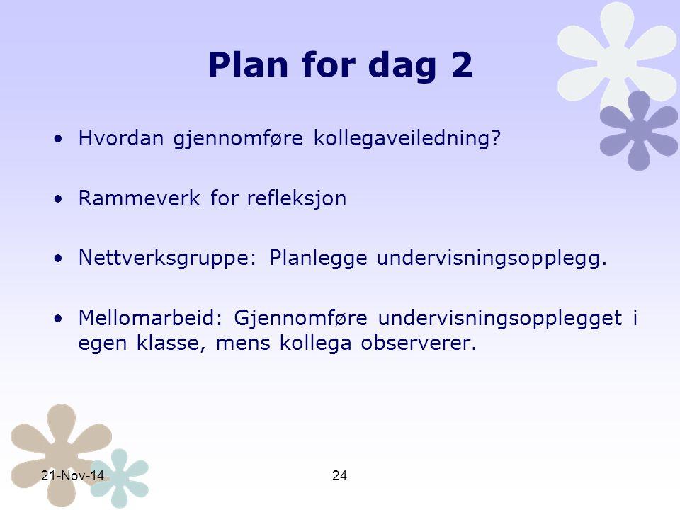 Plan for dag 2 Hvordan gjennomføre kollegaveiledning
