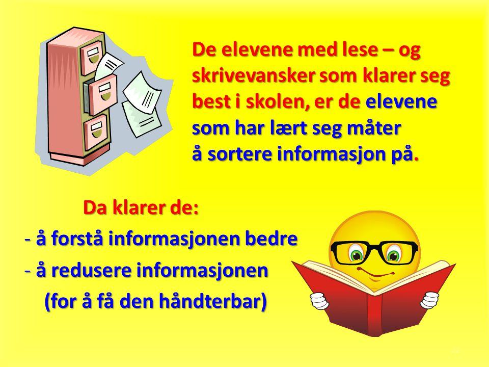 å forstå informasjonen bedre å redusere informasjonen