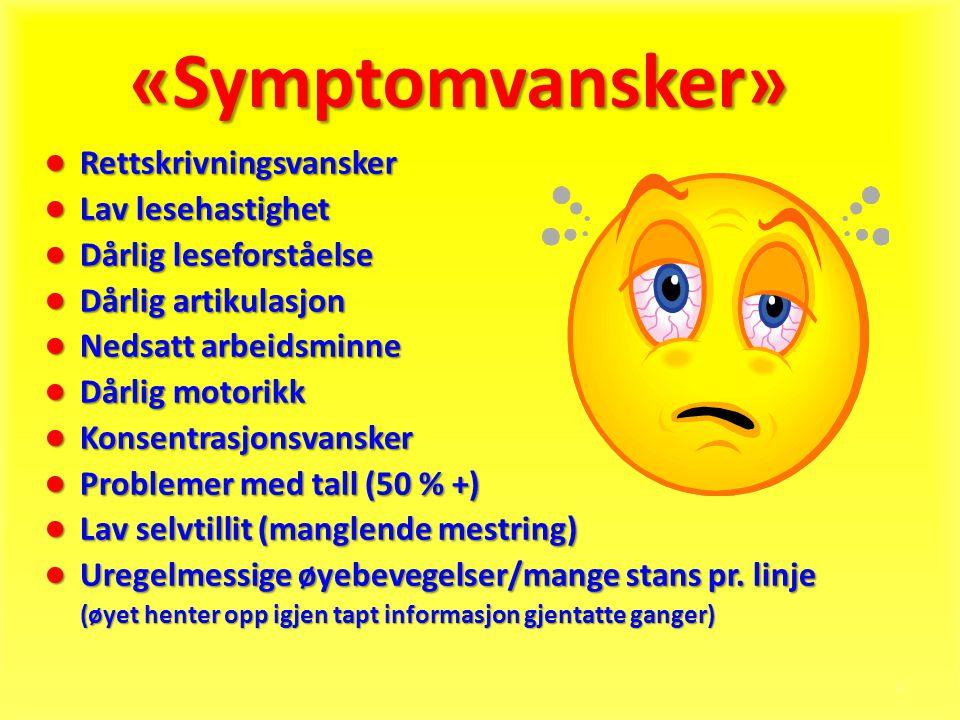 «Symptomvansker» Rettskrivningsvansker Lav lesehastighet