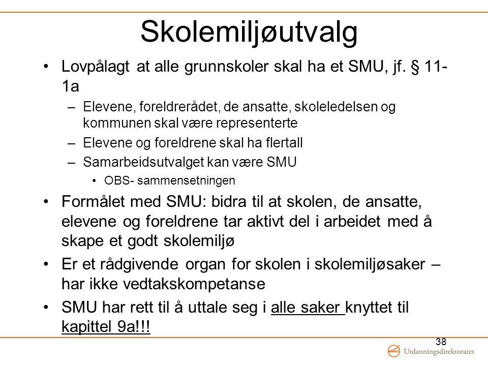 Skolemiljøutvalg Lovpålagt at alle grunnskoler skal ha et SMU, jf. § 11-1a.
