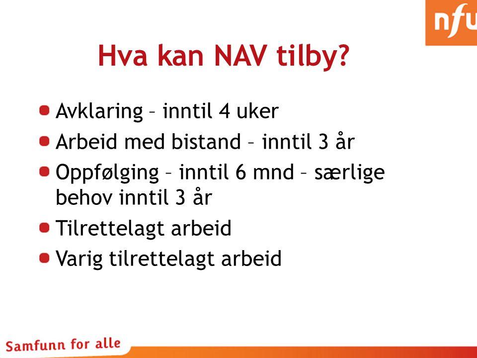 Hva kan NAV tilby Avklaring – inntil 4 uker