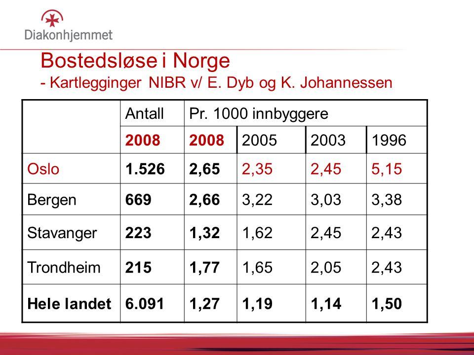Bostedsløse i Norge - Kartlegginger NIBR v/ E. Dyb og K. Johannessen