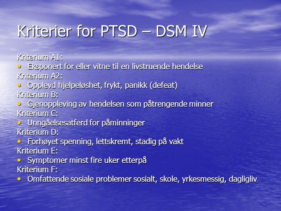 Kriterier for PTSD – DSM IV