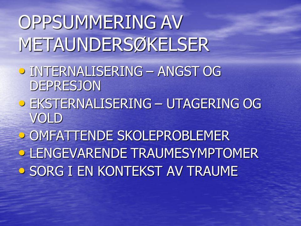 OPPSUMMERING AV METAUNDERSØKELSER