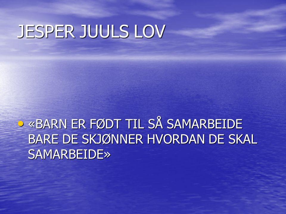 JESPER JUULS LOV «BARN ER FØDT TIL SÅ SAMARBEIDE BARE DE SKJØNNER HVORDAN DE SKAL SAMARBEIDE»