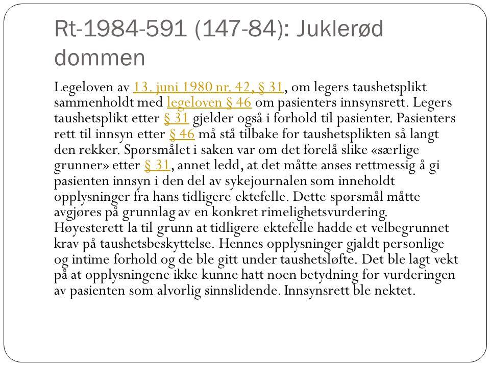 Rt-1984-591 (147-84): Juklerød dommen