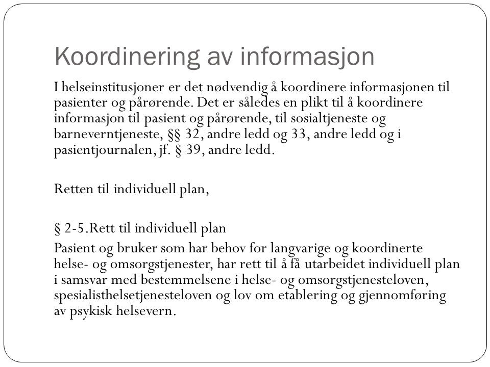 Koordinering av informasjon