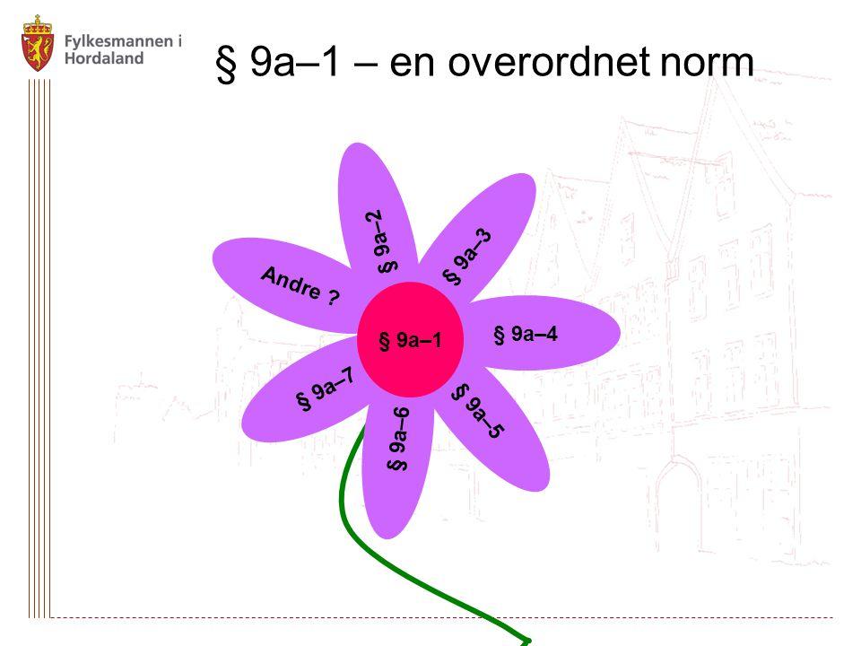 § 9a–1 – en overordnet norm