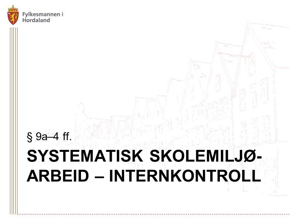 Systematisk skolemiljø-arbeid – internkontroll