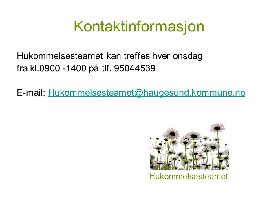 Kontaktinformasjon Hukommelsesteamet kan treffes hver onsdag