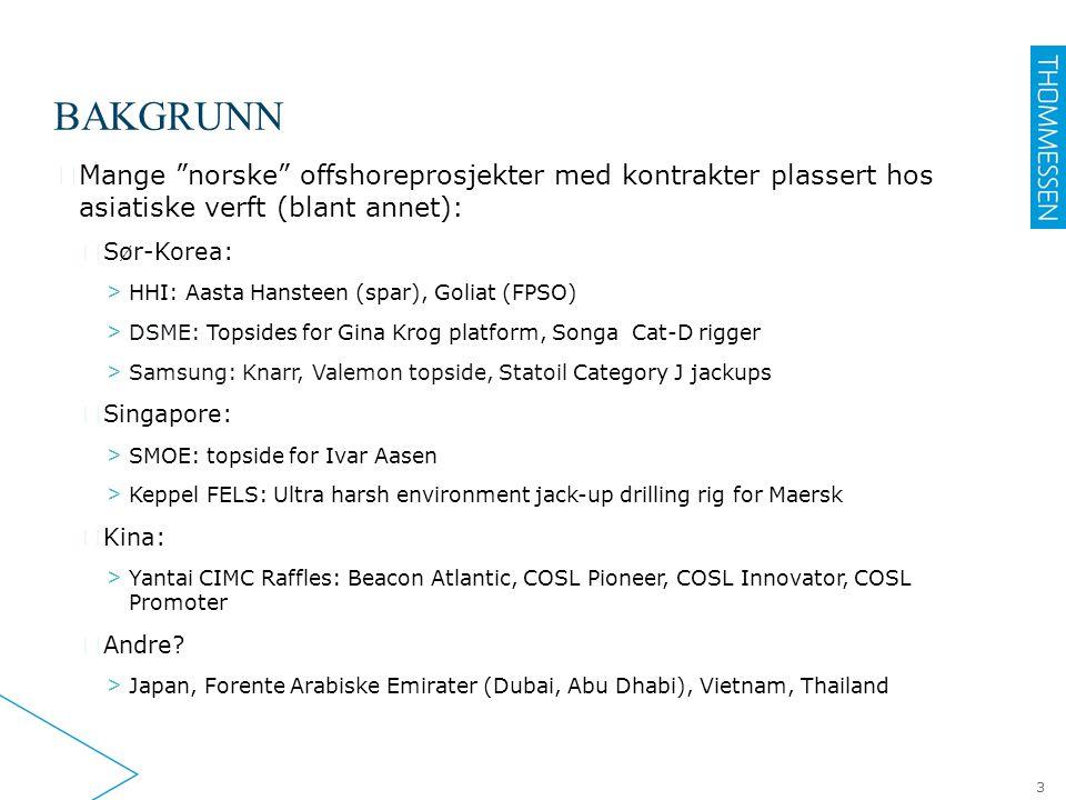 BAKGRUNN Mange norske offshoreprosjekter med kontrakter plassert hos asiatiske verft (blant annet):