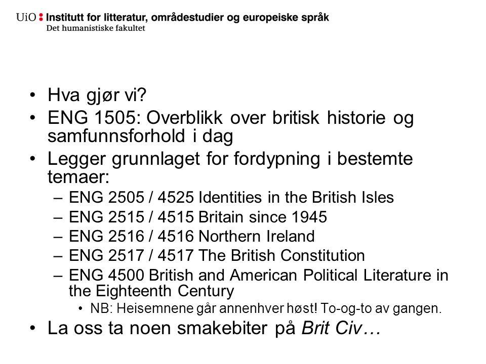ENG 1505: Overblikk over britisk historie og samfunnsforhold i dag