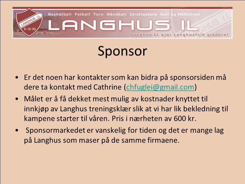 Sponsor Er det noen har kontakter som kan bidra på sponsorsiden må dere ta kontakt med Cathrine (chfuglei@gmail.com)