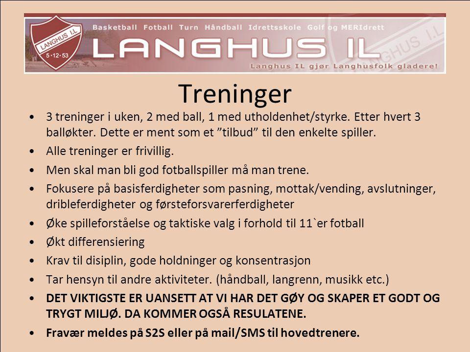 Treninger 3 treninger i uken, 2 med ball, 1 med utholdenhet/styrke. Etter hvert 3 balløkter. Dette er ment som et tilbud til den enkelte spiller.