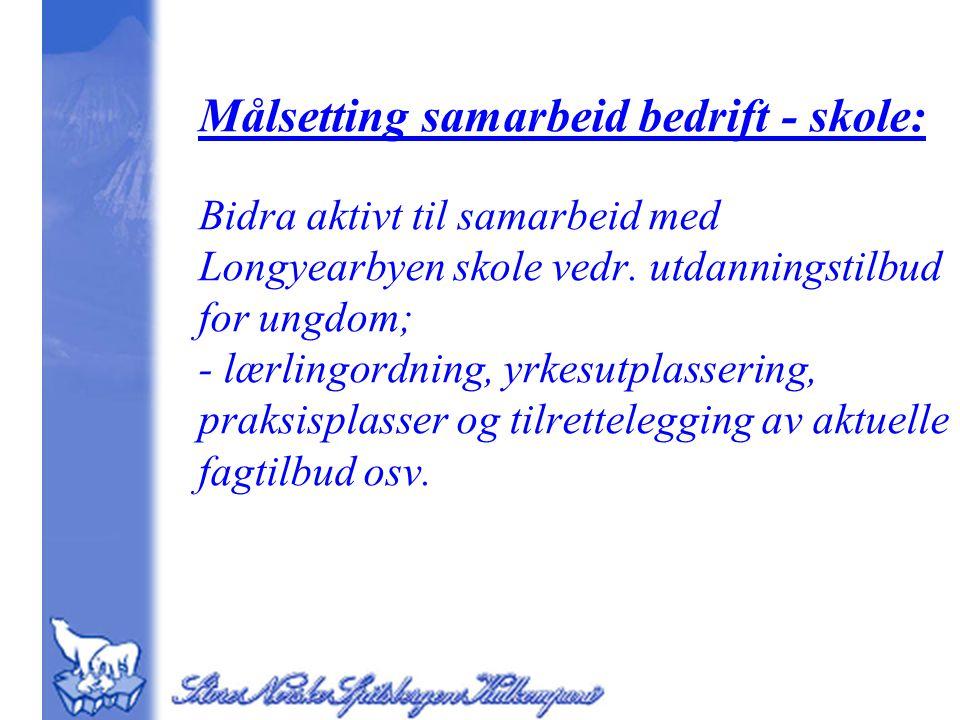 Målsetting samarbeid bedrift - skole: Bidra aktivt til samarbeid med Longyearbyen skole vedr.