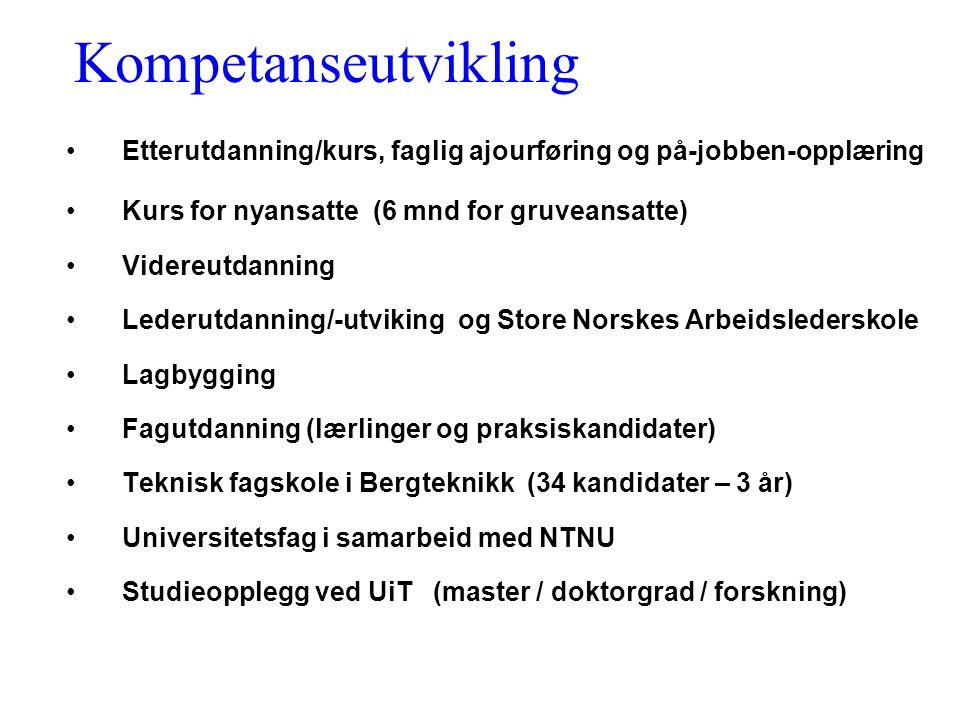Kompetanseutvikling Etterutdanning/kurs, faglig ajourføring og på-jobben-opplæring. Kurs for nyansatte (6 mnd for gruveansatte)