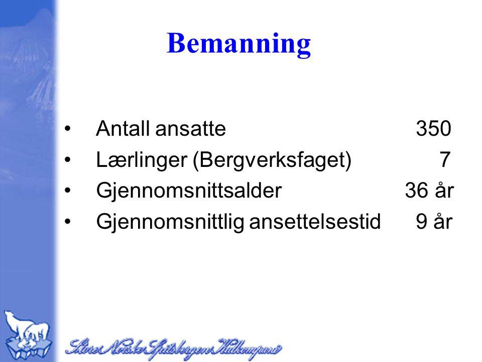 Bemanning Antall ansatte 350 Lærlinger (Bergverksfaget) 7