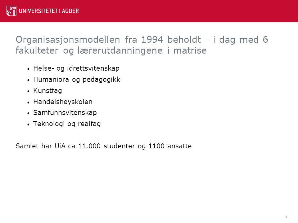 Organisasjonsmodellen fra 1994 beholdt – i dag med 6 fakulteter og lærerutdanningene i matrise