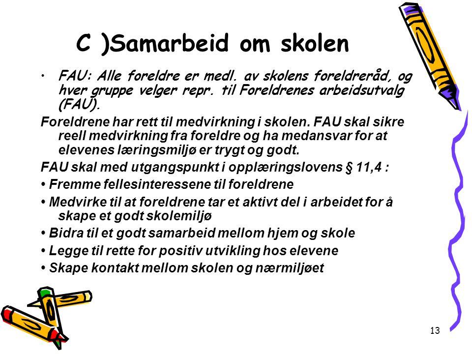 C )Samarbeid om skolen FAU: Alle foreldre er medl. av skolens foreldreråd, og hver gruppe velger repr. til Foreldrenes arbeidsutvalg (FAU).