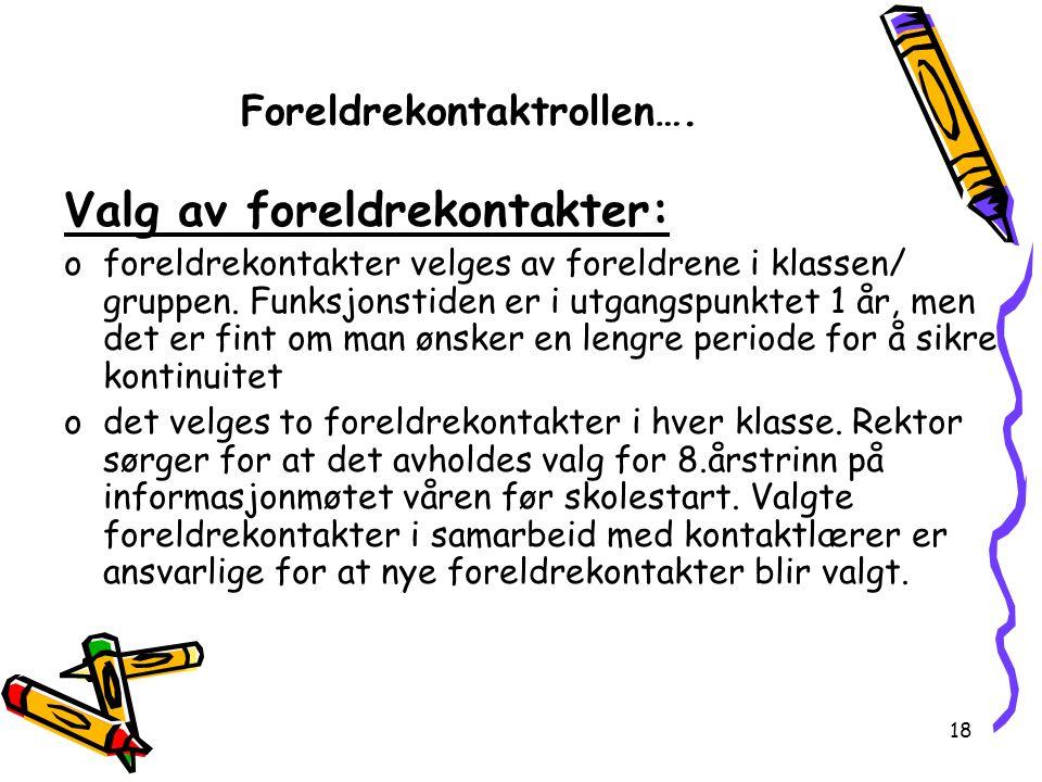 Foreldrekontaktrollen….