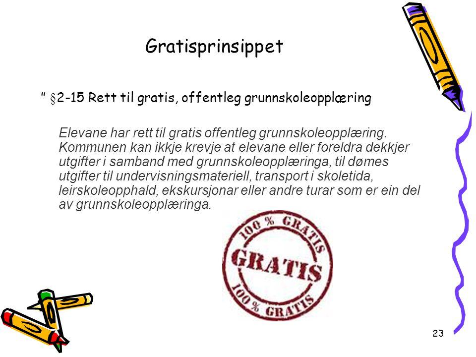 Gratisprinsippet §2-15 Rett til gratis, offentleg grunnskoleopplæring.