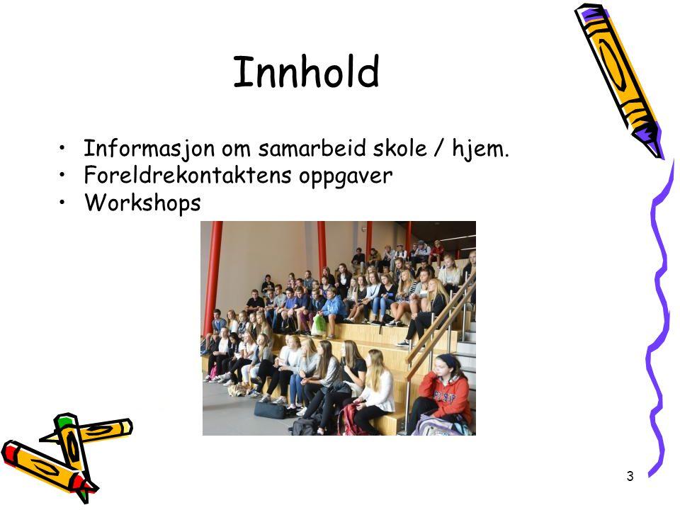 Innhold Informasjon om samarbeid skole / hjem.
