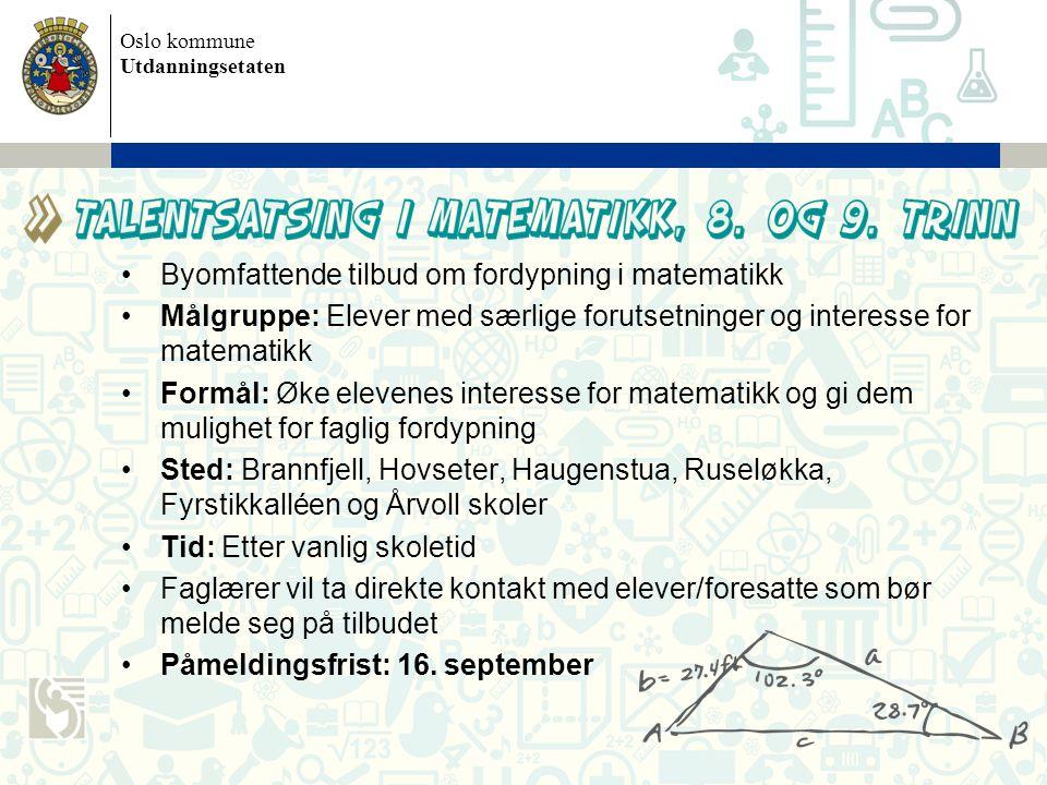 Byomfattende tilbud om fordypning i matematikk