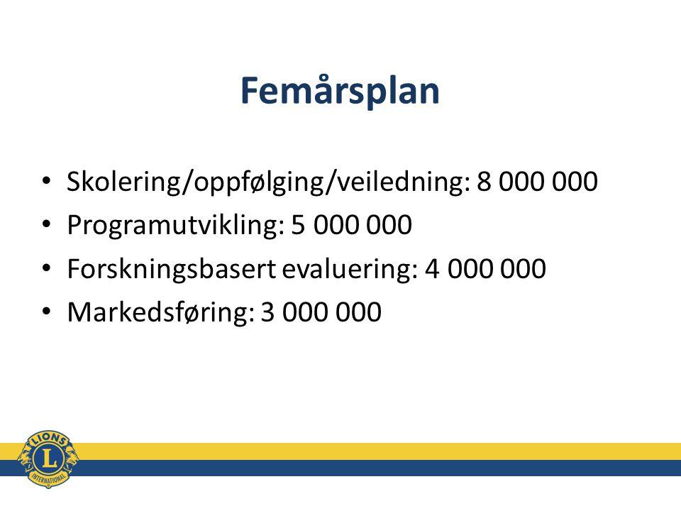 Femårsplan Skolering/oppfølging/veiledning: 8 000 000