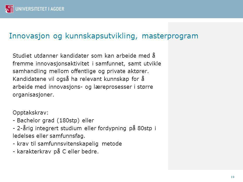 Innovasjon og kunnskapsutvikling, masterprogram
