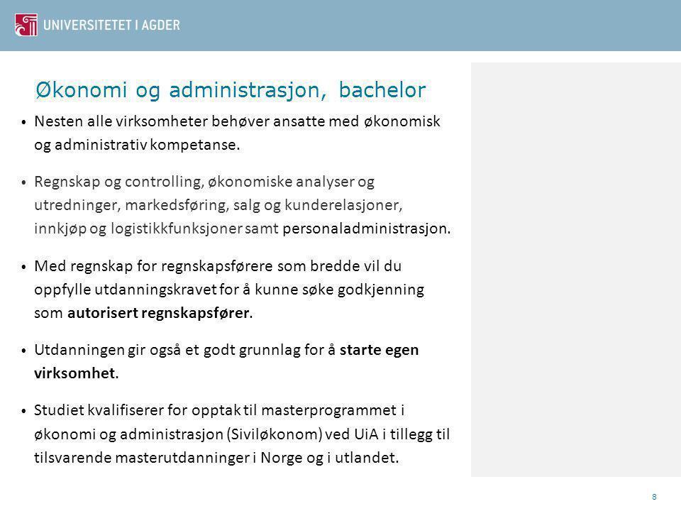 Økonomi og administrasjon, bachelor