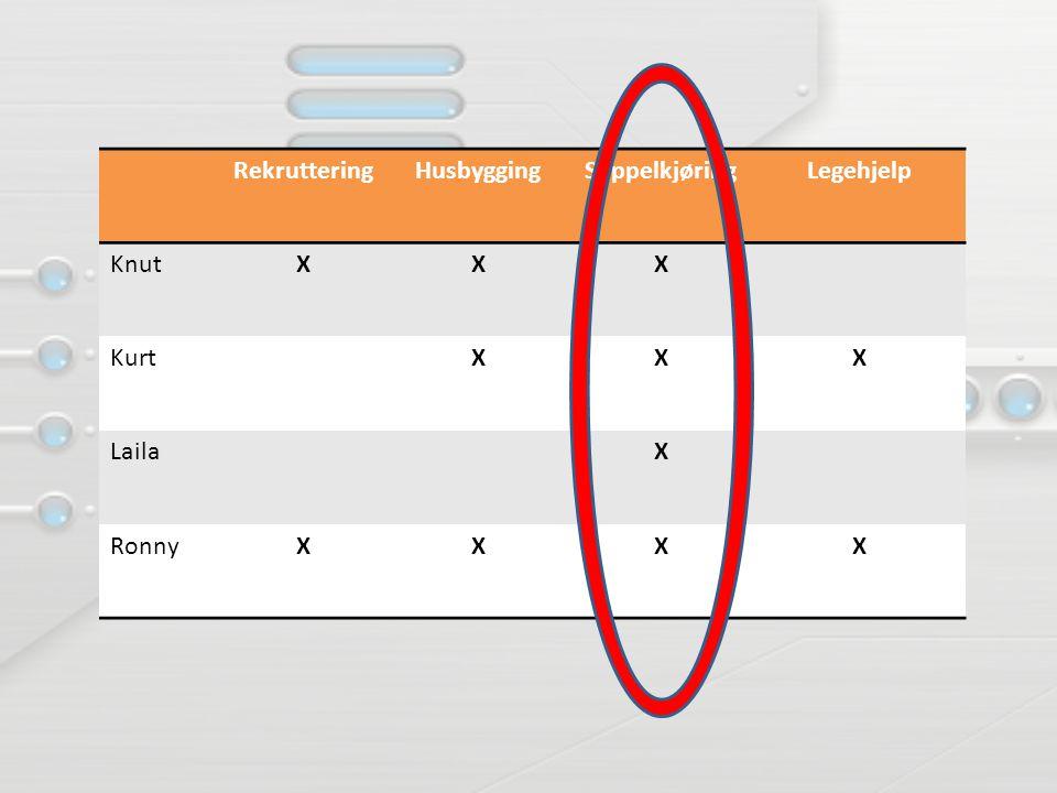 Rekruttering Husbygging Søppelkjøring Legehjelp Knut X Kurt Laila Ronny