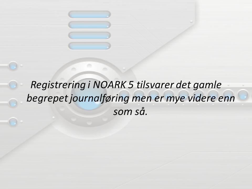 Registrering i NOARK 5 tilsvarer det gamle begrepet journalføring men er mye videre enn som så.