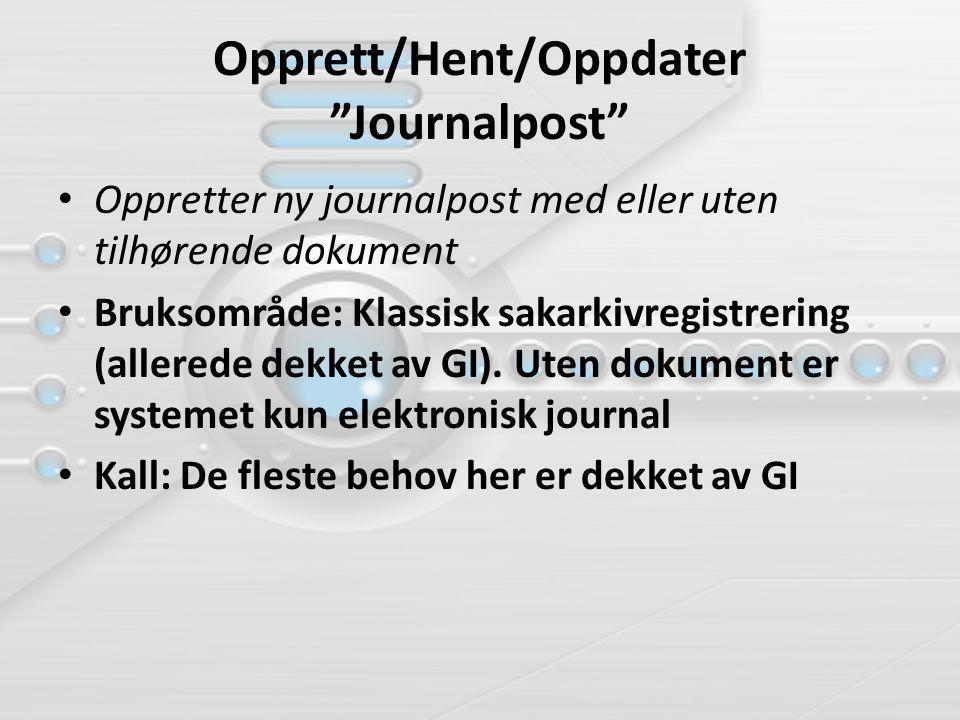 Opprett/Hent/Oppdater Journalpost