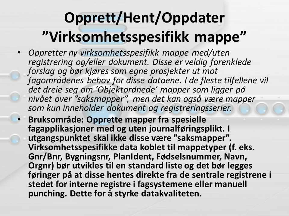 Opprett/Hent/Oppdater Virksomhetsspesifikk mappe