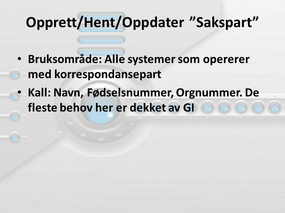 Opprett/Hent/Oppdater Sakspart