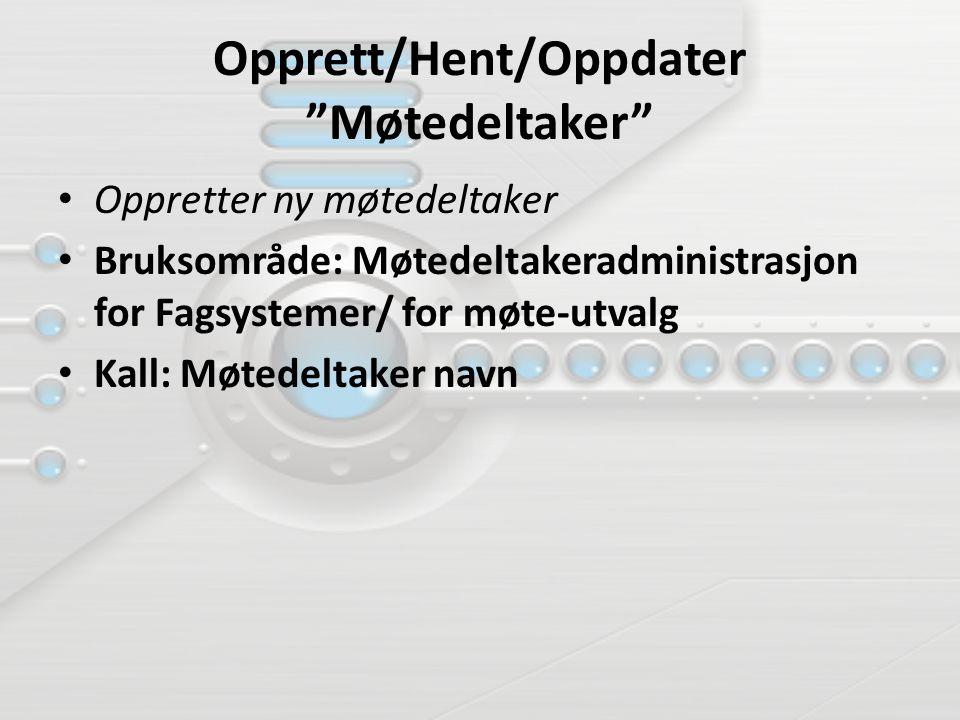Opprett/Hent/Oppdater Møtedeltaker