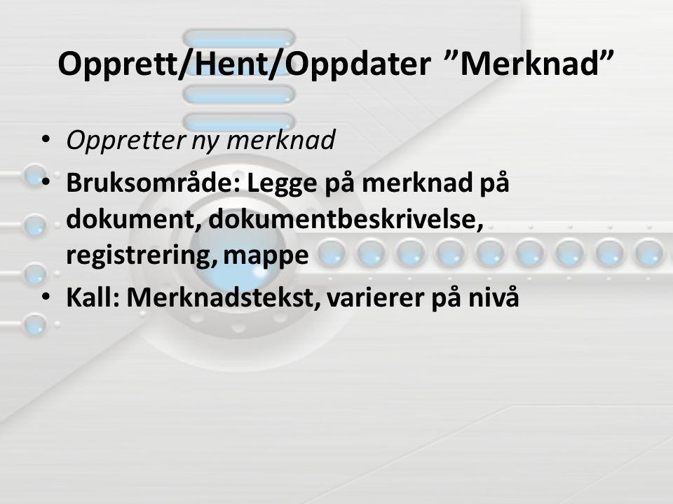 Opprett/Hent/Oppdater Merknad